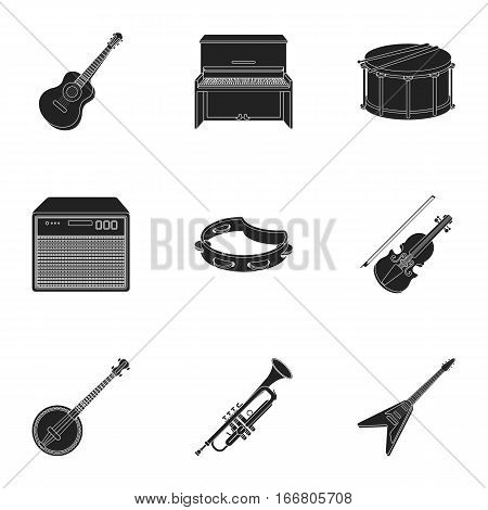 Musical instruments set icons in black style. Big collection of musical instruments vector symbol stock