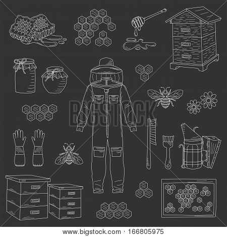 Beekeeping equipment collection with protective clothing, beehive and bee smoker, isolated on black background. Honey icons set vector hand drawn, doodle style illustration.