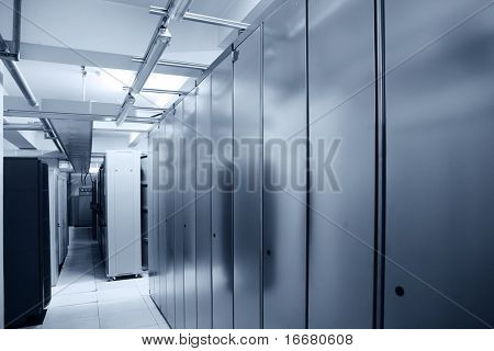communication server center interior in blue tone