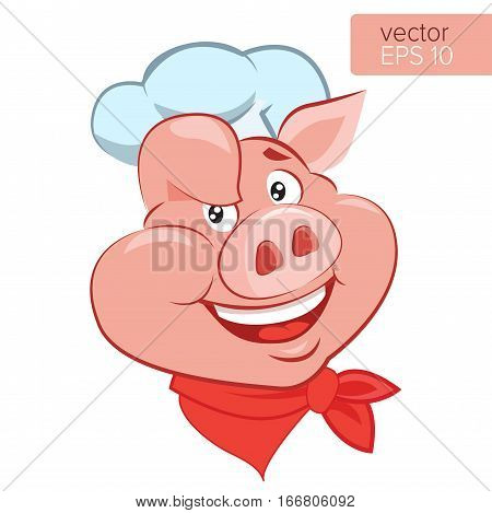 Bbq Theme. Lucky Cook. I Know How To Cook. Smile Pig Chef Head Cartoon Vector Illustration. Pig Cook Character On A White Background.
