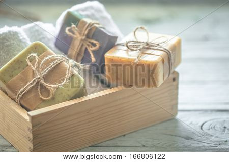 Handmade Soap In Wooden Box