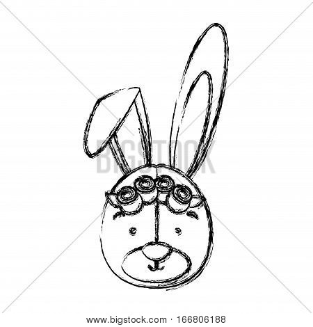 monochrome contour blurr with face of bride rabbit vector illustration