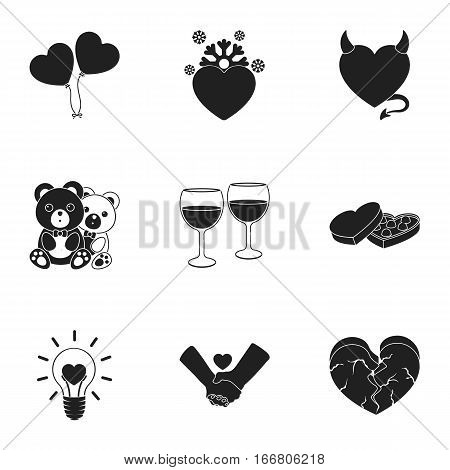 Romantic set icons in black style. Big collection of romantic vector symbol stock