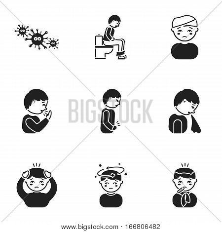 Sick set icons in black style. Big collection io sick vector symbol stock