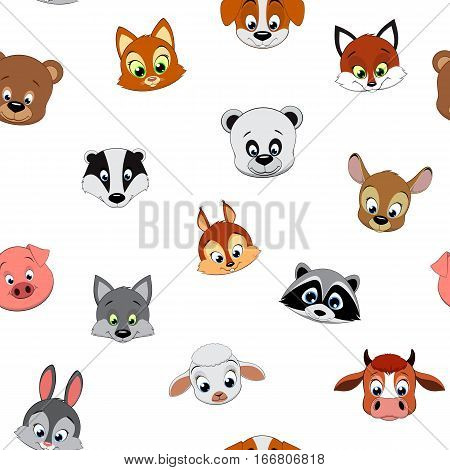Vector illustration, pattern funny baby animals on a white background.