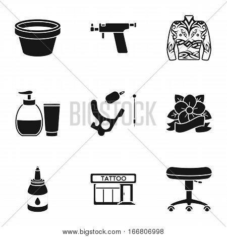 Tattoo studio set icons in black style. Big collection of tattoo studio vector symbol stock