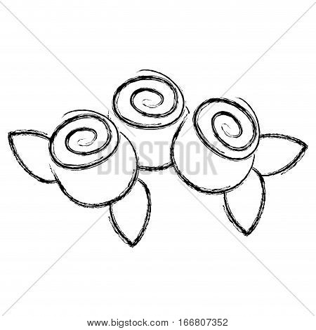 monochrome contour blurr with plants vector illustration