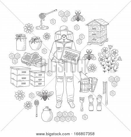 Beekeeping honey collection with apiculture equipment, beekeeper, smoker, beehive, bee, honeycomb, jar and dipper stick isolated on white background. Hand drawn, doodle style illustration.