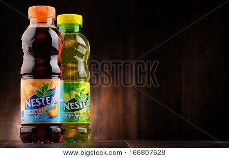 POZNAN POLAND - JAN 18 2017: Nestea is a brand of iced tea manufactured by Coca-Cola and distributed by Nestle