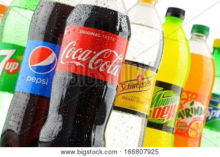 POZNAN POLAND - JAN 18 2017: Global soft drink market is dominated by brands of few multinational companies founded in North America. Among them are Pepsico Coca Cola and Dr. Pepper Snapple Group