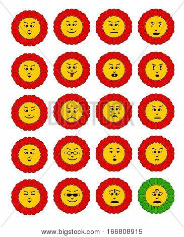 Emoticon set. Emoji flowers. Flower with emoji faces. Flower emoticon colection. Feelings expresion. Red cheerful flowers.