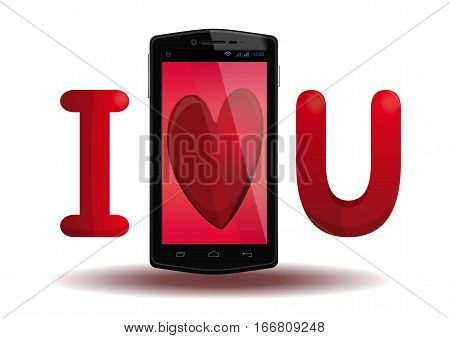 I love U. Inscription with smartphone icon. Abbreviation - I love you. Mobile phone with a big red heart on the screen and the letters I and U. Vector illustration