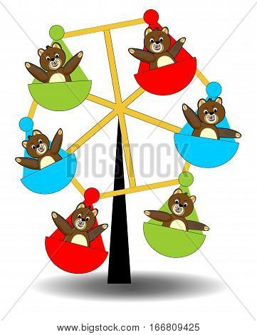 Teddy bears on carousel. Playing teddy bears. Carousel with teddy bears. Brown teddy bears babys. Funny colorful carousel. Bears entertainment