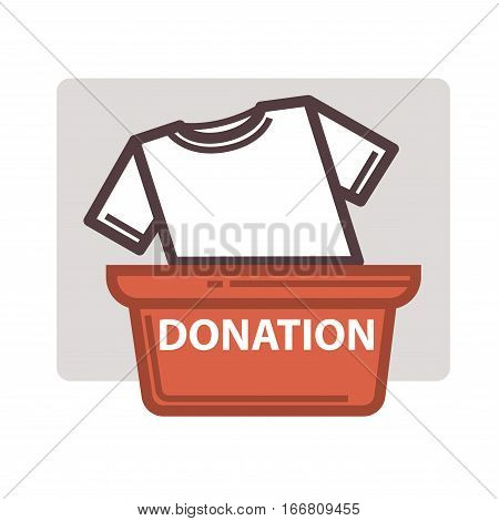 Donation icon. Symbols or logo of human care, assistance for health, help and hope sign. Flat design element in red color.