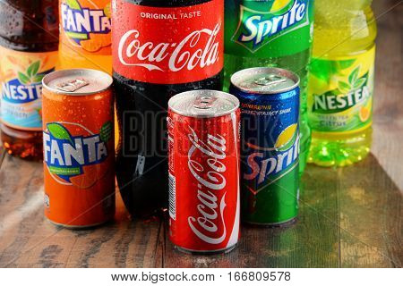 POZNAN POLAND - JAN 19 2017: Flagship products of Coca Cola Company American multinational beverage corporation headquartered in Atlanta Georgia USA