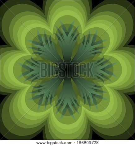 Green semitransparent rosette on black background. Plastic green rosette. Multilayered flourish rosette. Green vector mandala. Green flower shape.