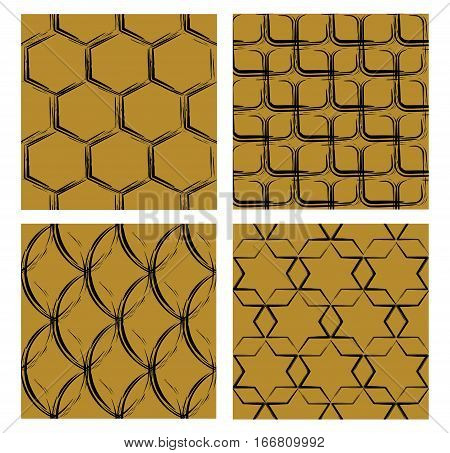 Set of backgrounds with grunge patterns black curves on golden background different shapes hexagon square oval star