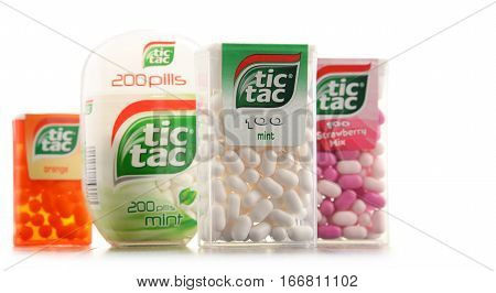 POZNAN POLAND - JAN 19 2017: Tic Tac is a brand of hard mints manufactured by the Italian confectioner Ferrero available in a variety of flavors in over 100 countries