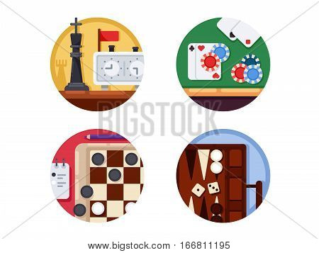 Board games set. Chess and checkers, backgammon and playing cards. Vector illustration. Pixel perfect icons size - 128 px