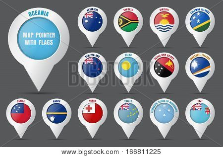 Set The Pointer To The Map With The Flag Of The Countries Of Oceania