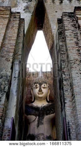 Historical Park Wat Sri Chum Temple Main Approach Sukhothai