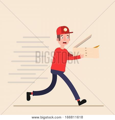 pizza deliveryman carries runs to make it in time to bring order.Flat. Vector.
