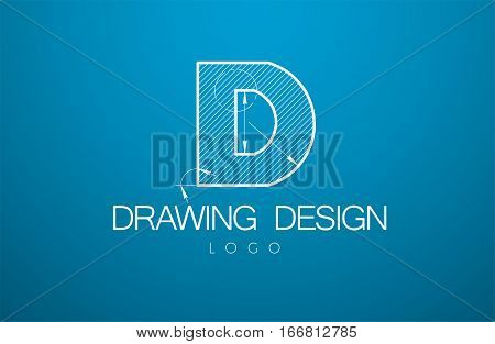 Logo Template Letter D  In The Style Of A Technical Drawing.
