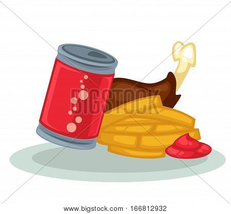 Fast food symbols: fried chicken, fries, ketchup and soda. Illustration of lunch in menu: can of cola, fried potato and sauce. Vector icon isolated on white background. Design element in cartoon style
