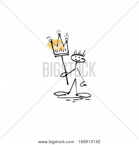 hand drawing sketch human smile stick figure with crown, unique simple icon doodle cute miniature, vector illustration