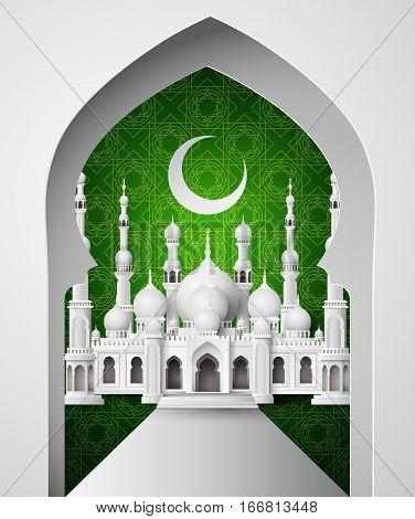 Ramadan Kareem, Paper art and craft style.