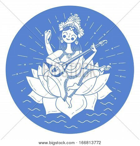 Black And White Illustration Happy Vasant Panchami Saraswati