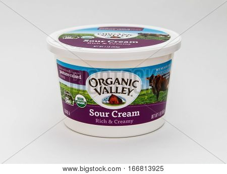 New York, January 5, 2017: A single tub of sour cream by Organic Valley is seen against white background.