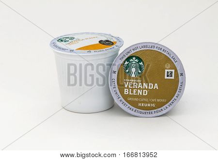 New York, January 5, 2017: Two Starbucks Veranda Blend coffee capsules for Keurig coffee machine are seen against white background.