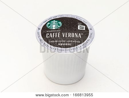 New York, January 5, 2017: A single Starbucks Caffe Verona coffee capsule for Keurig coffee machine is seen against white background.