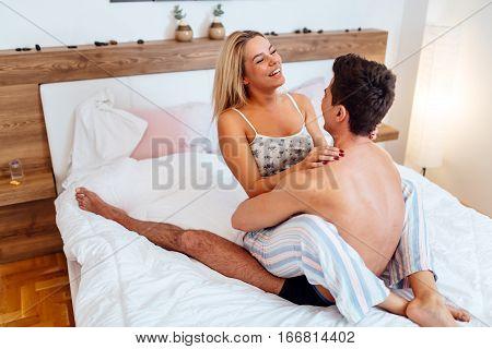 Young Beutiful Couple Enjoying Foreplay