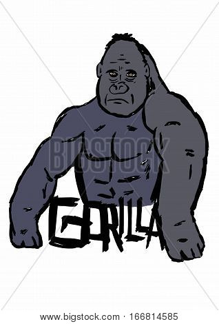 Image of a bust Gorilla with text