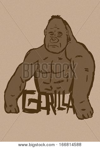 Image of a Gorilla with text vintage