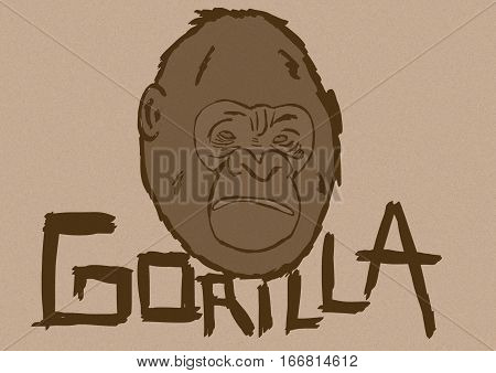 Image of a Gorilla head with text vintage