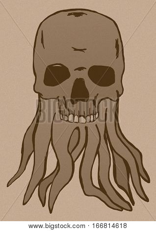 Image of a Skull with tentacles vintage