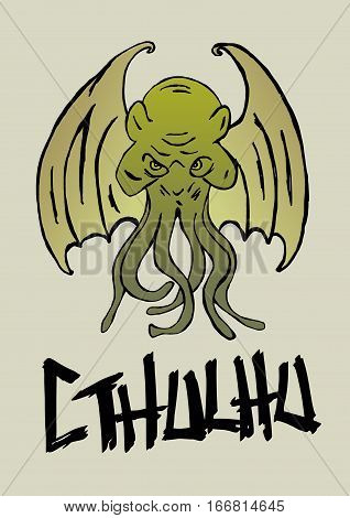 Image of Cthulhu monster with tentacles and wings