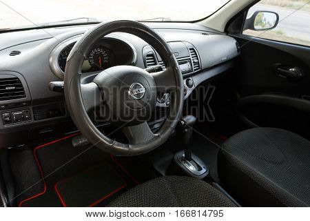 DNIPRO UKRAINE - AUGUST 10 2016: NISSAN MICRA INTERIOR