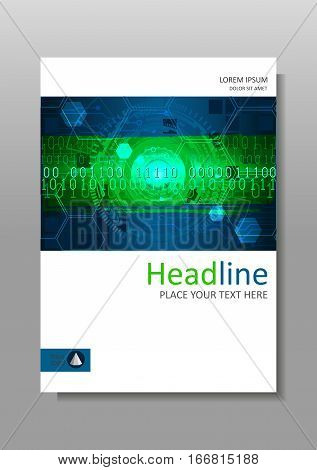 Cover design A4. Journals portfolio monographs and magazines. Vector. Futuristic circles with internet and business interface background with numbers. Infographic data. Head-Up Display HUD.