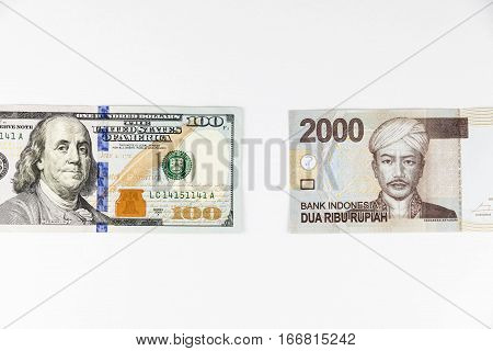 Close Up View Of Us Dollar And Indonesia Rupiah Indicating Strong Currency Exchange Rate