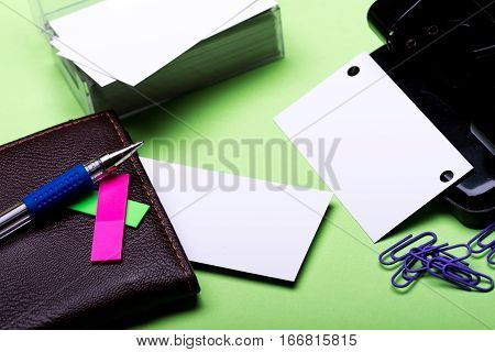 Stationery For Office: Hole Puncher, Clips, Blanks, Wallet, Pen, Stickers