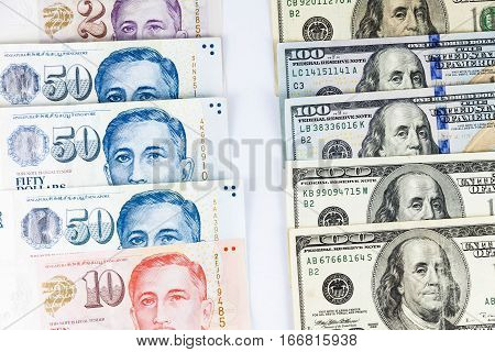 Close up view of US Dollar and Singapore Dollar indicating strong currency exchange rate