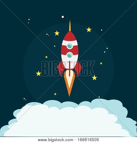 Rocket space launch missile moon success concept design vector stock