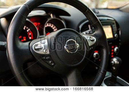 DNIPRO UKRAINE - APRIL 12 2016: NISSAN JUKE WHEEL CLOSE