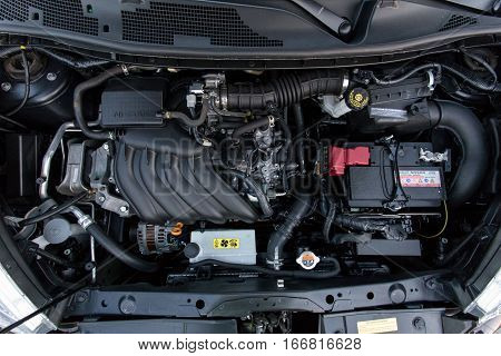 DNIPRO UKRAINE - APRIL 12 2016: NISSAN JUKE UNDER THE HOOD