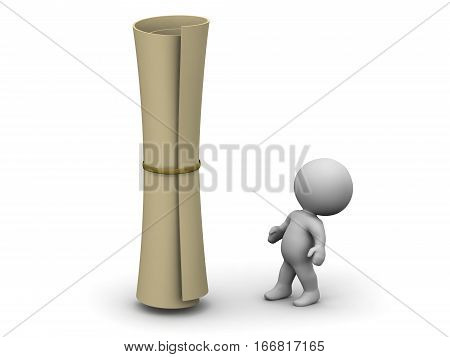A small 3D character looking up at a large rolled diploma. Isolated on white background.