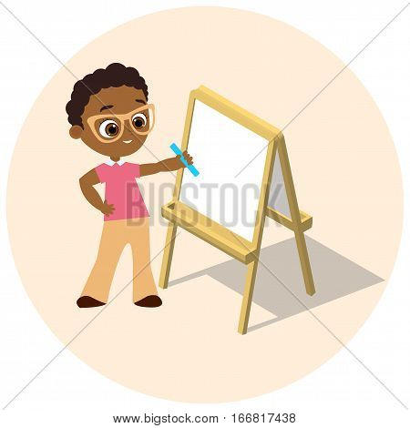 Isometric easel. Young african american boy with glasses Drawing Whiteboard. Paint desk and white paper isolated on white background. Vector illustration eps 10